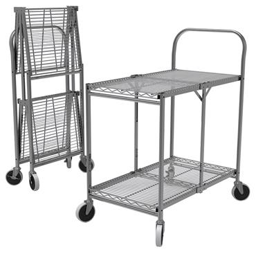 Luxor WSCC-2 2-Shelf Collapsible Wire Utility Cart
