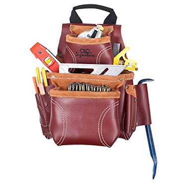 Custom Leathercraft 21685 8 Pocket Heavy-Duty Leather Nail and Tool Bag