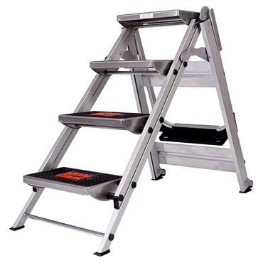 Little Giant 10410B 4 Step Safety Ladder with Bar and Tray