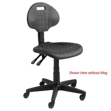 Rhodes + Scholes T2-CAS-RING Black Fully Ergonomic Polyurethane Chair with Foot Ring