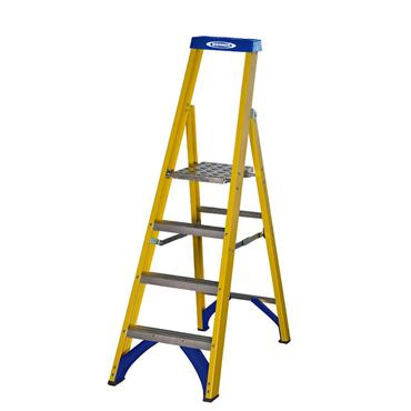 Werner 71704 Stepladder Fibreglass Platform 4 Tread Trade