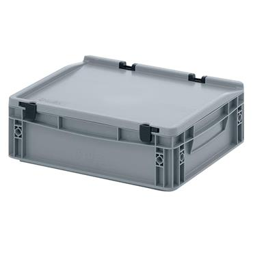 Auer Packaging ED43/12HG 10 Litre Euro Container with Lid - Silver Grey