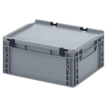 Auer Packaging ED43/17HG 15 Litre Euro Container with Hinge Lid - Silver Grey