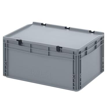 Auer Packaging ED64/27HG 56 Litre Euro Container with Hinge Lid - Silver Grey