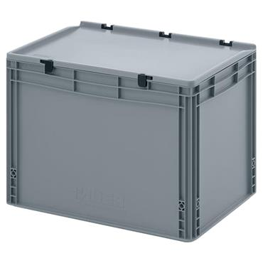 Auer Packaging ED64/42HG 88 Litre Euro Container with Hinge Lid - Silver Gray