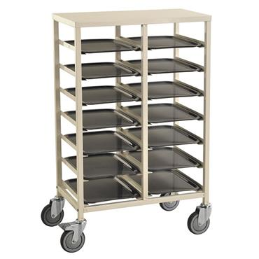 KM 882-14 14-Shelf White Tray Trolley