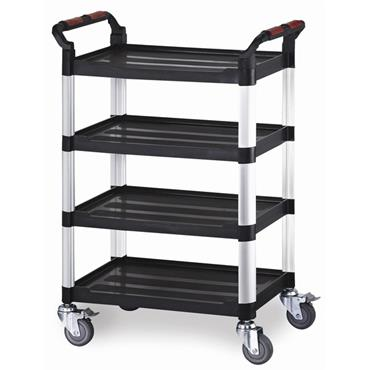 CITEC WHTT4SS 4-Shelf Black Utility Tray Trolley