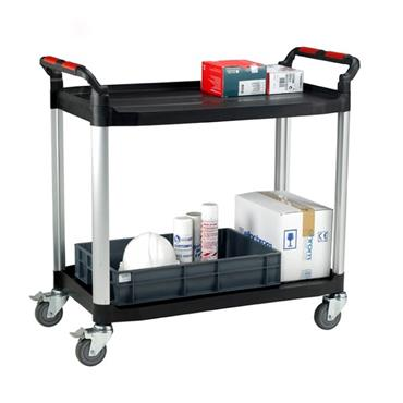 CITEC WHTT2SL Utility Tray Trolleys - 2 Shelves with Drawer