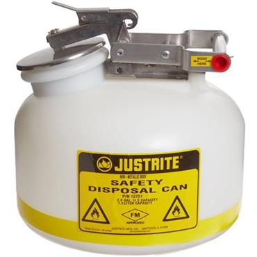 Justrite 12751 8 Litre White Polyethelene Liquid Disposal Can