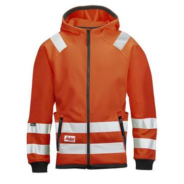 Snickers 8043 Class 3 High-Visibility Micro Fleece Hood Jacket - Orange