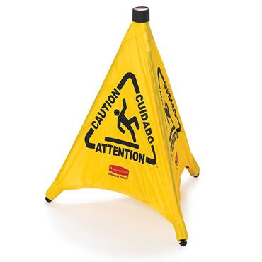 "RUBBERMAID 9S01 Pop-Up Safety Cone, ""Caution"" Imprint & Wet Floor Sign"