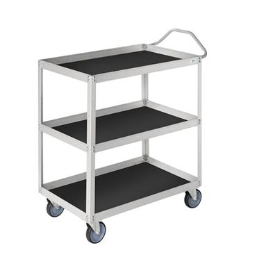 KM 9100 3-Shelf White Trolley with Black Mat
