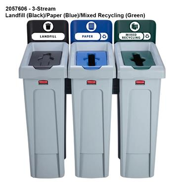 Rubbermaid Slim Jim Recycling Station Bins and Label Kit