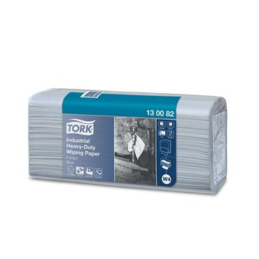 Tork 130082 Blue Industrial Heavy-Duty Wiping Paper Box of 500