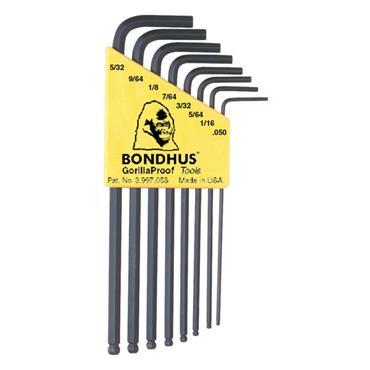 Bondhus BLX8 8 Piece Ballpoint L-Wrench Imperial Hex Key Set