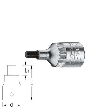"Gedore IN20 Metric Allen Screwdriver 1/4"" Drive Socket"