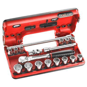 """Facom JL.DBOX1PB 18 Piece Metric 6 Point 3/8"""" Drive Socket Set"""