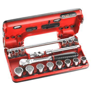 "Facom JL.DBOX112 18 Piece 12 Point DBOX 3/8"" Drive Socket Set"