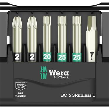 Wera 05073634001 Bit-Check 6 Stainless Torsion 50mm Bit Set