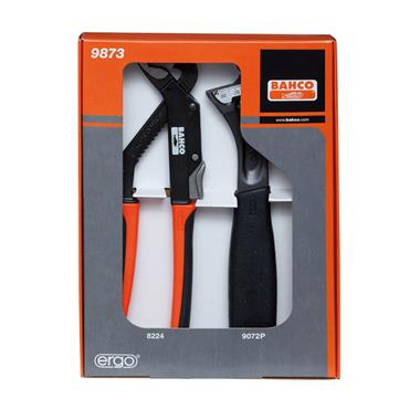 Bahco 9873 2 Piece Adjustable Wrench and Slip Joint Plier Set