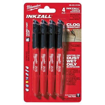 Milwaukee 48223104 Inkzall Black Fine Point Markers - 4 Pack