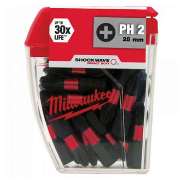 Milwaukee 4932430853 25 Piece Shockwave Impact Duty PH2 25mm Screwdriving Bits