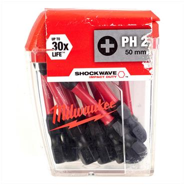 Milwaukee 4932430866 10 Piece Shockwave Impact Duty PH2 50mm Screwdriving Bits