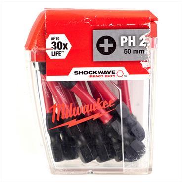 Milwaukee 4932430866 10 Piece Shockwave Impact Duty PH2 50mm Screwdriving Bits