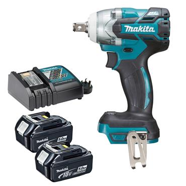 "Makita DTW285TX2 18 Volt Brushless 1/2"" Impact Wrench Kit, 2 x 5.0Ah Batteries"