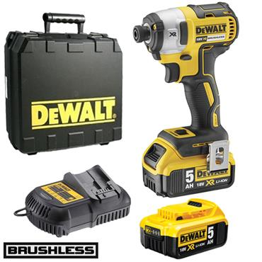 DeWALT DCF887P2 18 Volt XR Lithium-Ion Brushless Impact Driver, 2 x 5.0Ah Batteries