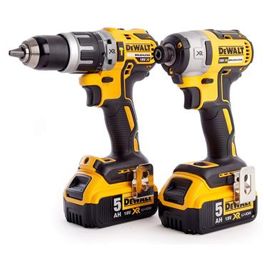 DeWALT DCK266P2T 18 Volt XR Brushless Combi Drill and Impact Driver Kit, 2 x 5.0Ah Batteries