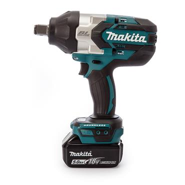 "Makita DTW1001RTJ 18 Volt Brushless 3/4"" Impact Wrench, 2 x 5.0Ah Batteries"