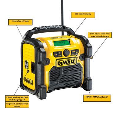 DeWALT DCR020 18 Volt DAB(+)/FM Compact Radio