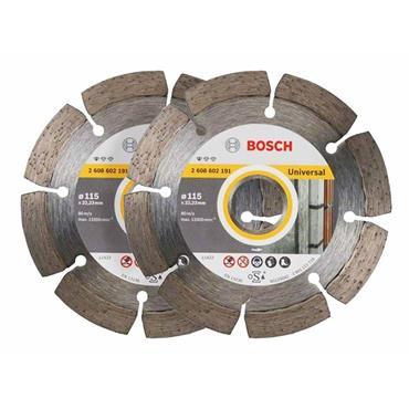 Bosch 061599749J 115mm Universal Diamond Blade Twin Pack