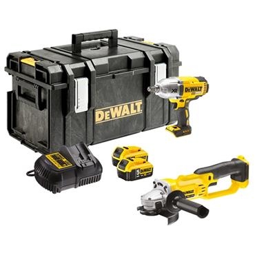 DeWALT DCK269P2 18 Volt Cordless Impact Wrench and Angle Grinder Twin Pack, 2 x 5.0Ah Batteries