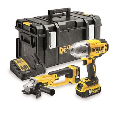 DeWALT DCK269P2 18 Volt Cordless Impact Wrench and Angle Grinder Twin Pack, 2 x 5.0Ah Batteries