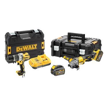 DeWALT DCK2055T2T 18 Volt Hammer Drill and 54 Volt Angle Grinder Kit Twin Pack, 2 x 6.0Ah Batteries