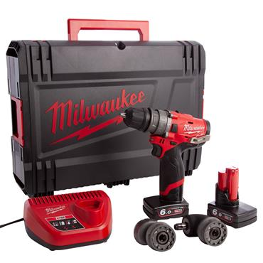 Milwaukee M12FPDXKIT-602X 12 Volt M12 Fuel Percussion Drill, 2 x 6.0Ah Batteries