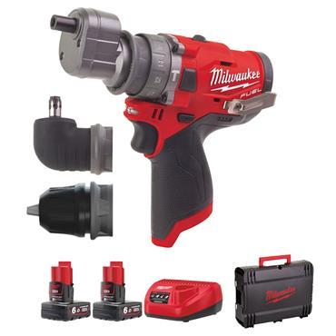 Milwaukee M12FPDXKIT-602X 12 Volt M12 Fuel Percussion Drill, 2 x 6.0Ah Batteries