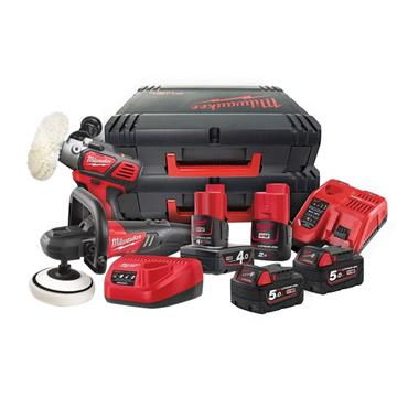 Milwaukee M18FPP2K-544X Fuel M12 and M18 Polisher Kit, 2 x 5.0Ah and 1 x 4.0Ah/2.0Ah Batteries