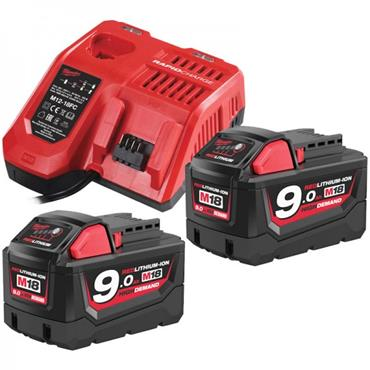 Milwaukee M18NRG-902 18 Volt M18 Batteries Plus Charger Pack, 2 x 9.0Ah Batteries