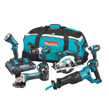 Makita DLX6072PT 18 Volt 6 Piece Combo Kit, 3 x 5.0Ah Batteries