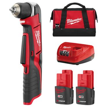Milwaukee C12RAD-22 12 Volt Right Angle Drill Kit, 2 x 1.5Ah Batteries