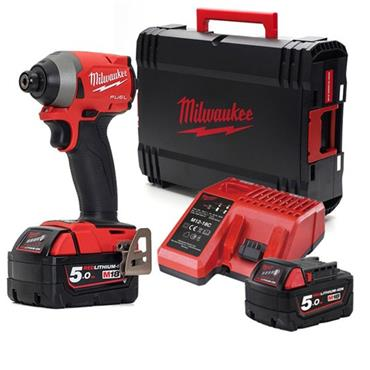 "Milwaukee M18FID2-502X 18 Volt Fuel 1/4"" Hex Impact Driver, 2 x 5.0Ah Batteries"