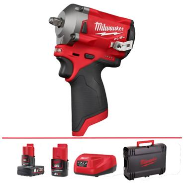 "Milwaukee M12FIW38-622X 12 Volt 3/8"" Impact Wrench, 2 batteries, 2.0 and 6.0Ah Batteries"