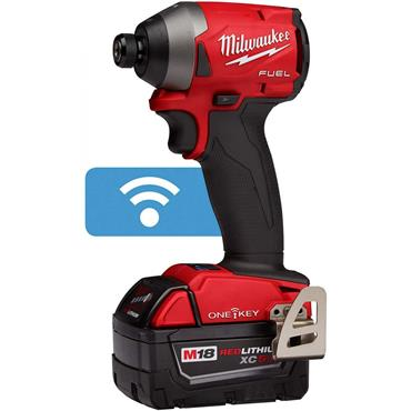 "Milwaukee M18 ONEID2-502X 18 Volt One-Key Fuel 1/4"" Hex Impact Driver, 2 x 5.0Ah Batteries"