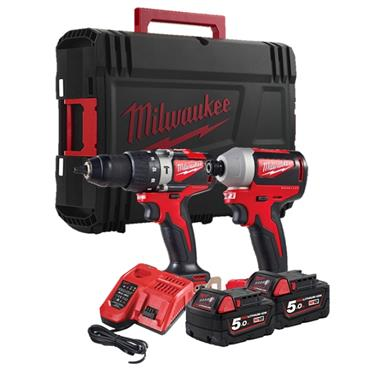Milwaukee M18BLPP2A2-502X 18 Volt Brushless Combi Drill and Impact Driver Kit, 2 x 5.0Ah Batteries