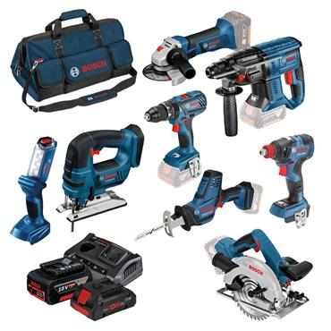Bosch 0615990K9G 18 Volt 8 Piece Coolpack Power Tool Kit, 3 x 4.0Ah Batteries