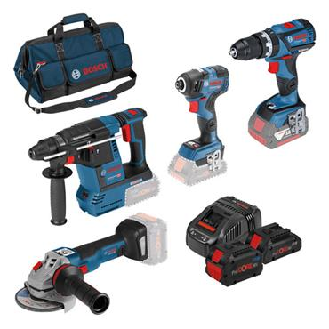 Bosch 0615990L0P 18 Volt 4 Piece Power Tool Kit, 1 x 8.0Ah and 2 x 4.0Ah Batteries