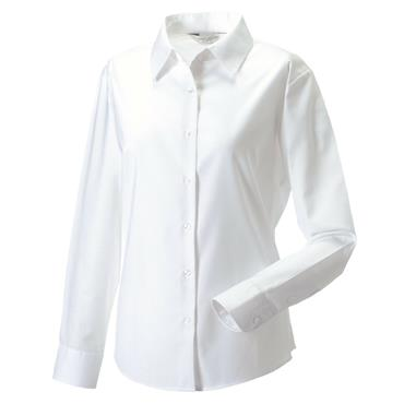 BTC Activewear 932F Ladies Long Sleeve Oxford Shirt - White